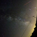 Milky Way in Sagittarius with meteor, airplane, barn and Jupiter in Scorpius.