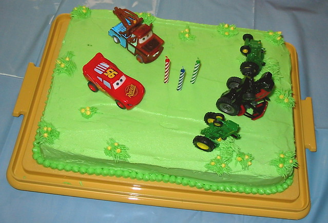 Tractor Tipping Birthday Cake