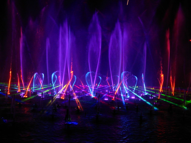 Lasers, Fountains, and Multicolor Lighting, World of Color, Disney
