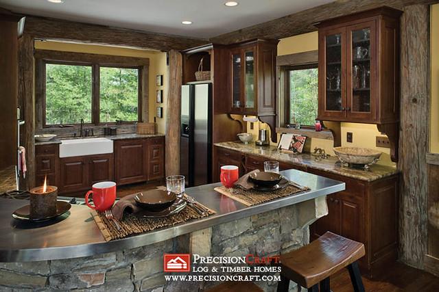 Log home post beam kitchen precisioncraft log homes for Log house kitchens