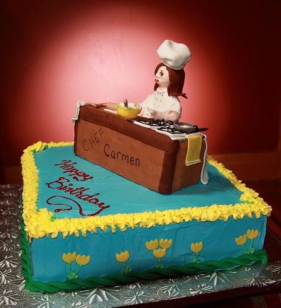 Birthday Cake Design For Chef : Comedic chef birthday cake Vanilla cake, vanilla custard ...