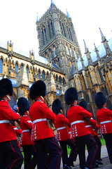 Grenadier Guards marching past the cathedral