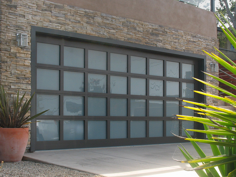 Garage doors athena glass sandcast bronze finish tinted for Garage door finishes