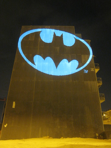 Batman Bat Signal, laser light graffiti, Barcelona | by Si1very