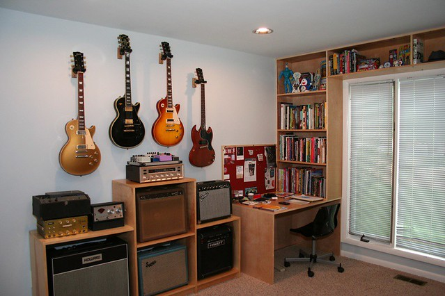 His side office renovation my desk side of the office for Guitar bedroom designs