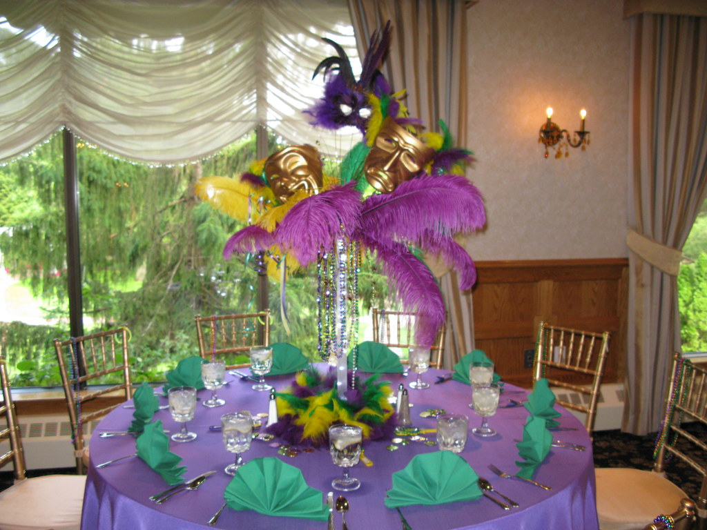 Mardi gras themed table centerpiece for a sweet at the