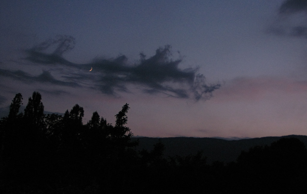 evening moon late evening sky over the jura mountains