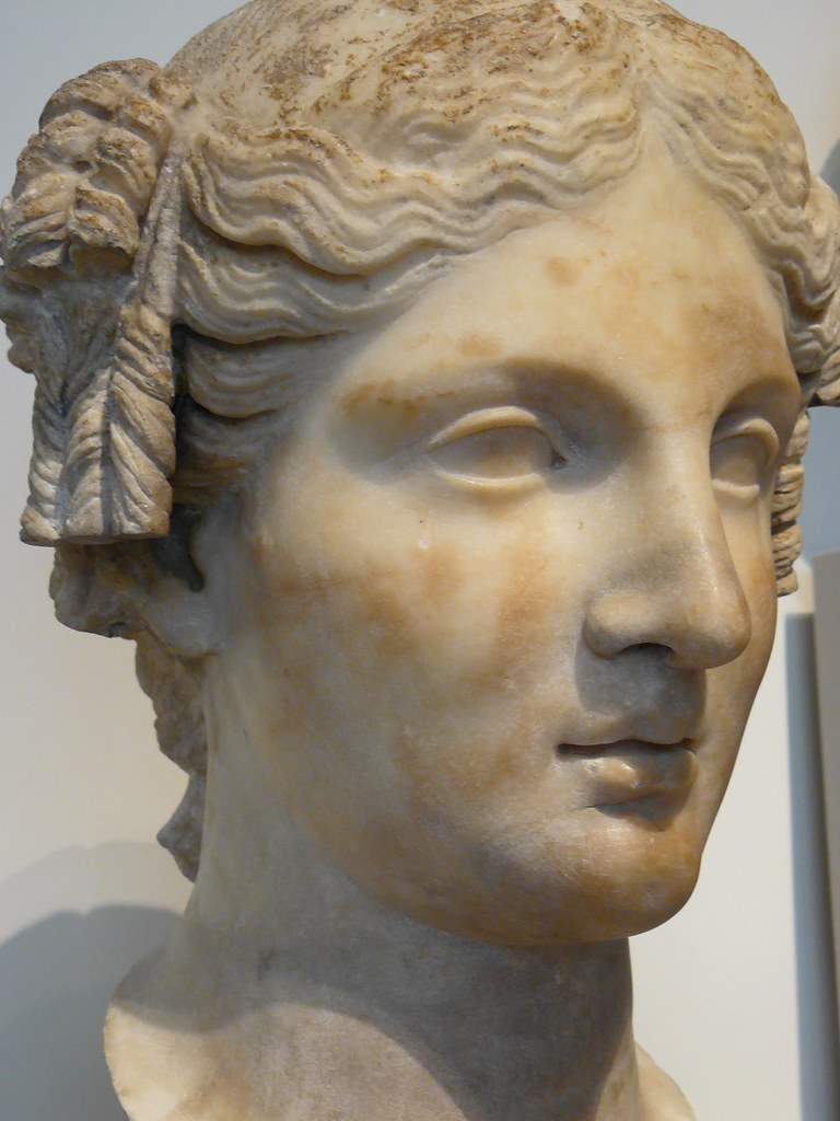 Marble Head Of A Roman Woman Imperial Period 1st Century C