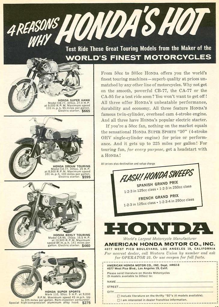 1962 Honda Motorcycle Advertisement
