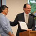 President Richard Rush presents Professor Dennis Muraoka with the Quality Improvement Program award at the 2009 Celebration of Faculty Accomplishments