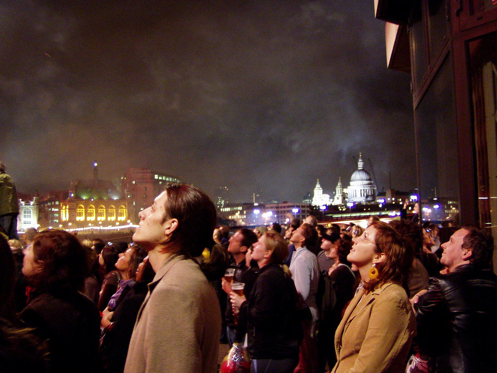 People watching the fireworks at south bank fotis for People watching