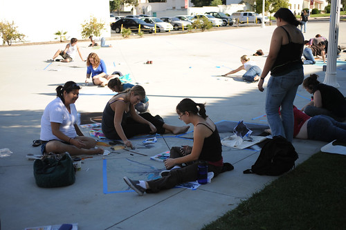 CI students drawing at Broome Library's 2008 Artwalk | by California State University Channel Islands