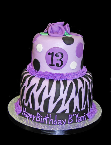 Purple Zebra Cake Design : 13th Birthday Black and Purple Zebra Print Cake Flickr ...