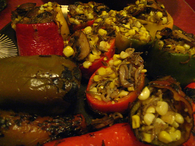 stuffed bell peppers with wild rice, sweet corn, crimini mushrooms ...