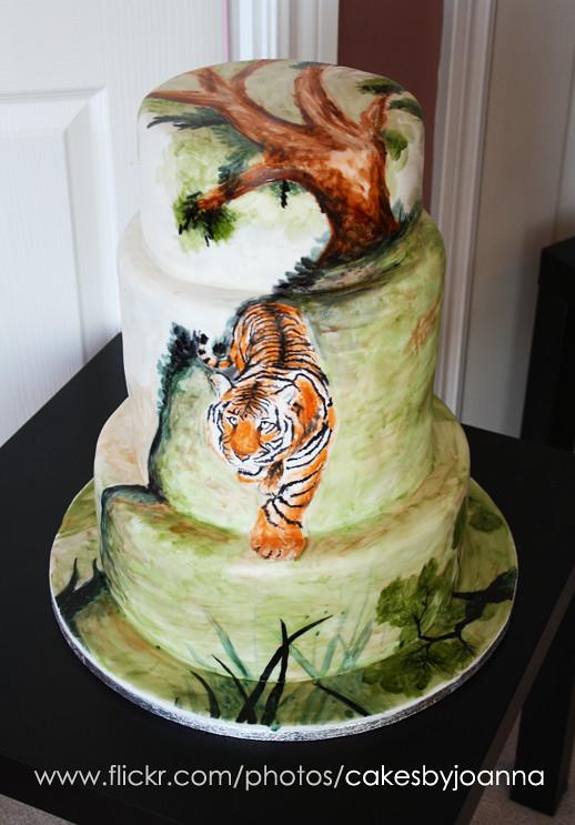 Painted tiger on cake visit my blog at www for Cake craft beavercreek ohio
