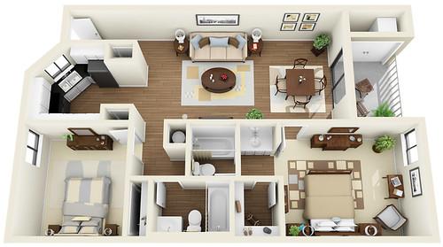 2bed 2bath 3d floor plan flickr photo sharing for 3d apartment floor plans