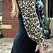 leopard blouse under dress+sweater vest cardigan