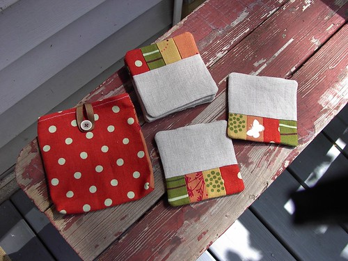 Housewarming Gift of reversible linen patchwork coasters | by Littleluvs