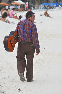 A busker on Playa del Carmen beach | by anjči