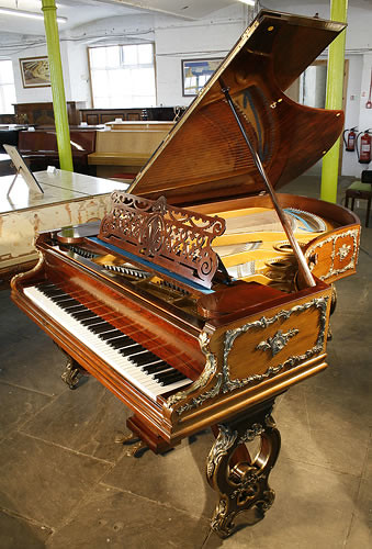 Antique Rosewood Bechstein Grand Piano With Brass Ormulu