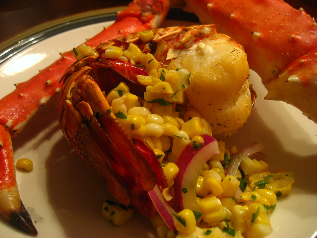 Crab & Lobster | Cedar planked Lobster tail and King Crab le ...