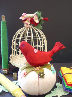 red bird wool felt-pincushion peddler | by bearseg