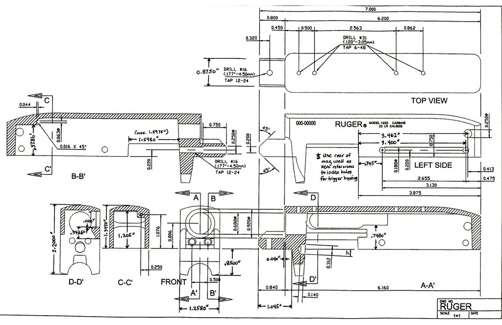 firearms - ! - Blueprint - Ruger 10-22 Rifle Receiver 2 ...