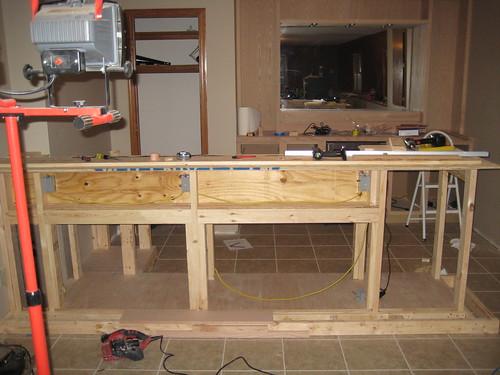 Framing out the bar basement bar build home basement bar for How to build a bar in my basement