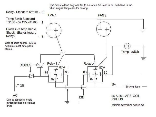 dual electric fan relay wiring diagram wiring dual electric fans86 rh vitaleapp co 12V Fan Relay Wiring Diagram SPAL Fan Wiring Diagram