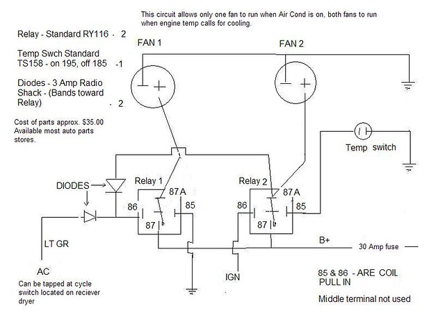 fan relay schematic this setup will allow you to run only flickr rh flickr com Chevy Electric Fan Wiring Diagram Dual Electric Fan Wiring Diagram