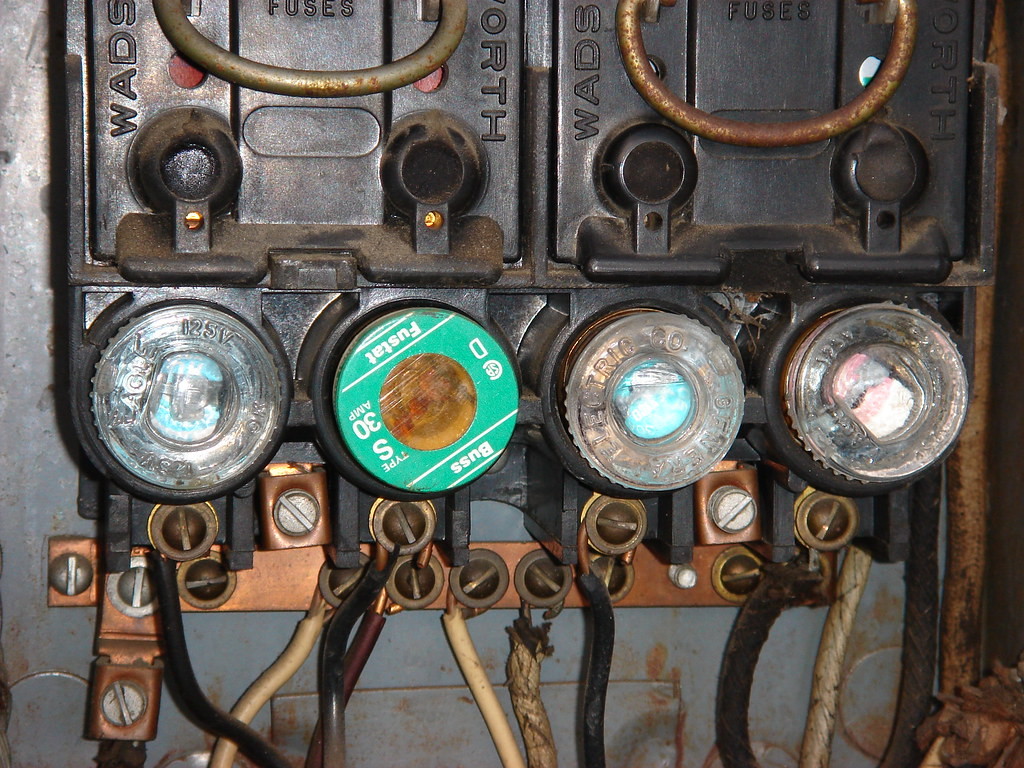 Old electrical fuse box a view of an