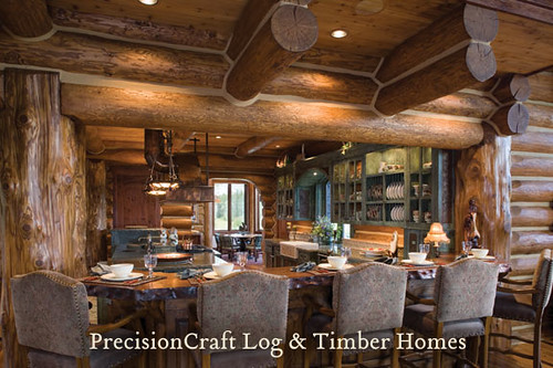 Located in wyoming custom log home kitchen precisioncr for Custom rustic homes