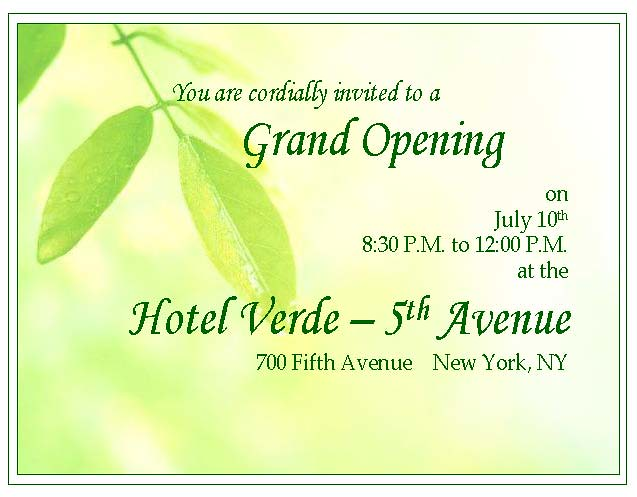 Hotel inauguration invitation card 28 images vector big hotel inauguration invitation card hotel verde grand opening invitation event for a stopboris Gallery