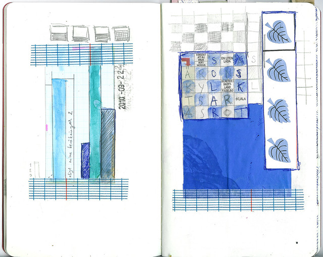 the Sketchbook Project | Blue grid and some rain