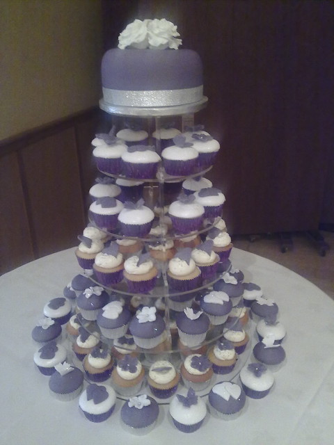 wedding cake and cupcakes purple s purple and silver wedding cupcake tower flickr 21733