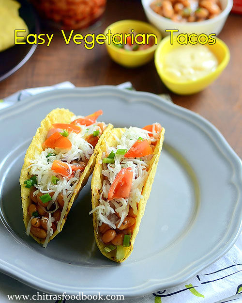 Easy vegetarian tacos recipe with baked beans chitras food book vegetarian tacos recipe forumfinder Image collections
