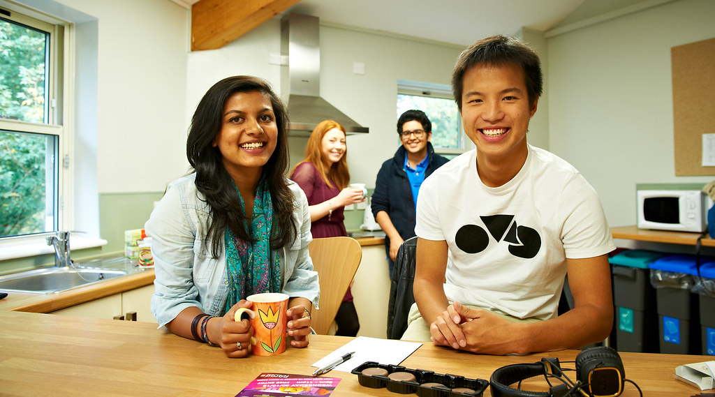 Students enjoy a cup of tea in their kitchen