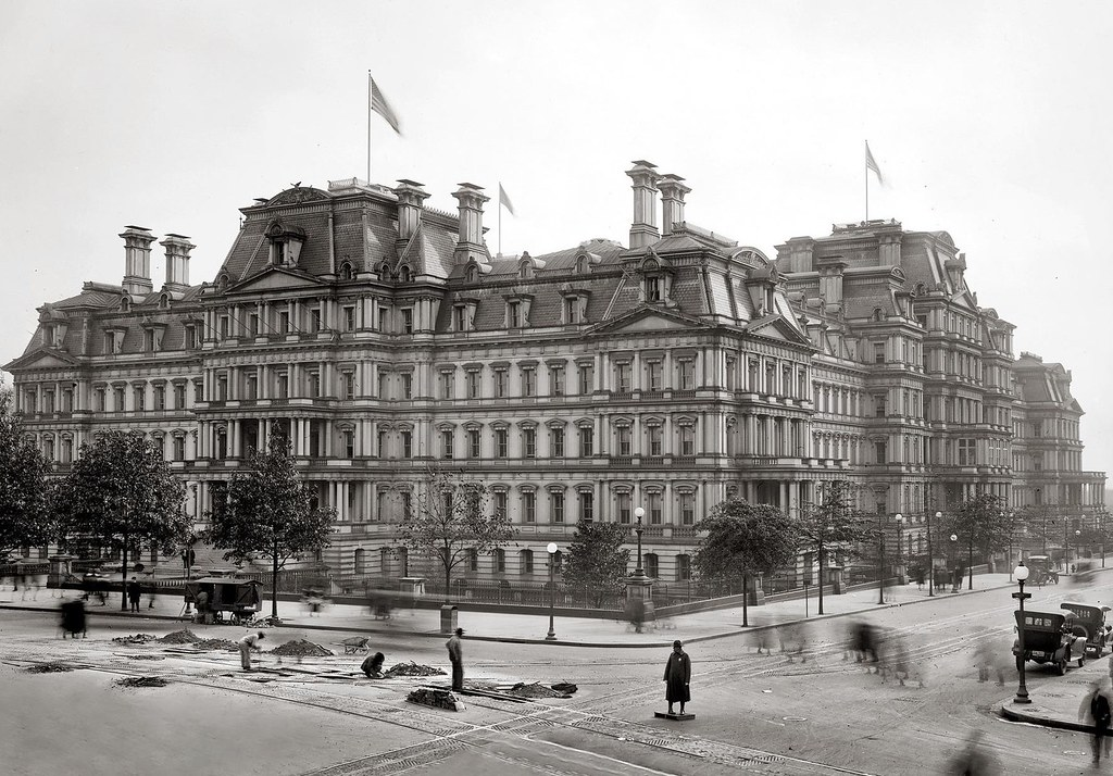 Alfred B. Mullett's former State, War and Navy Building, Washington, D.C., begun during the Grant administration and built between 1871 and 1888.
