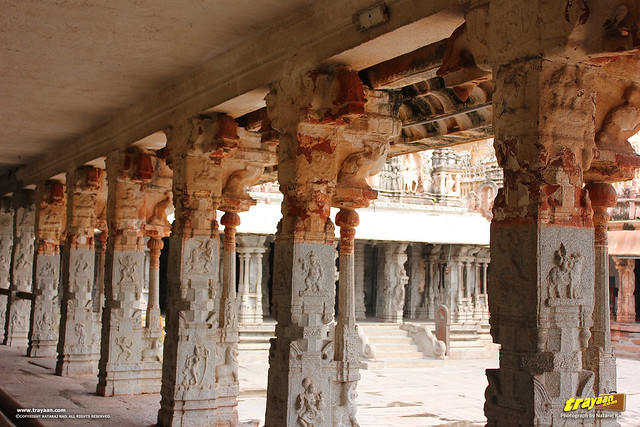 Beautiful columns of the cloistered corridor of Virupaksha Temple complex, Hampi, Ballari district, Karnataka, India
