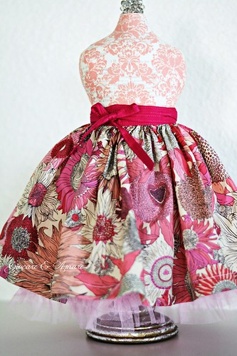 Pink Wild Flower Valentine Skirt for 18 - 22 inch doll