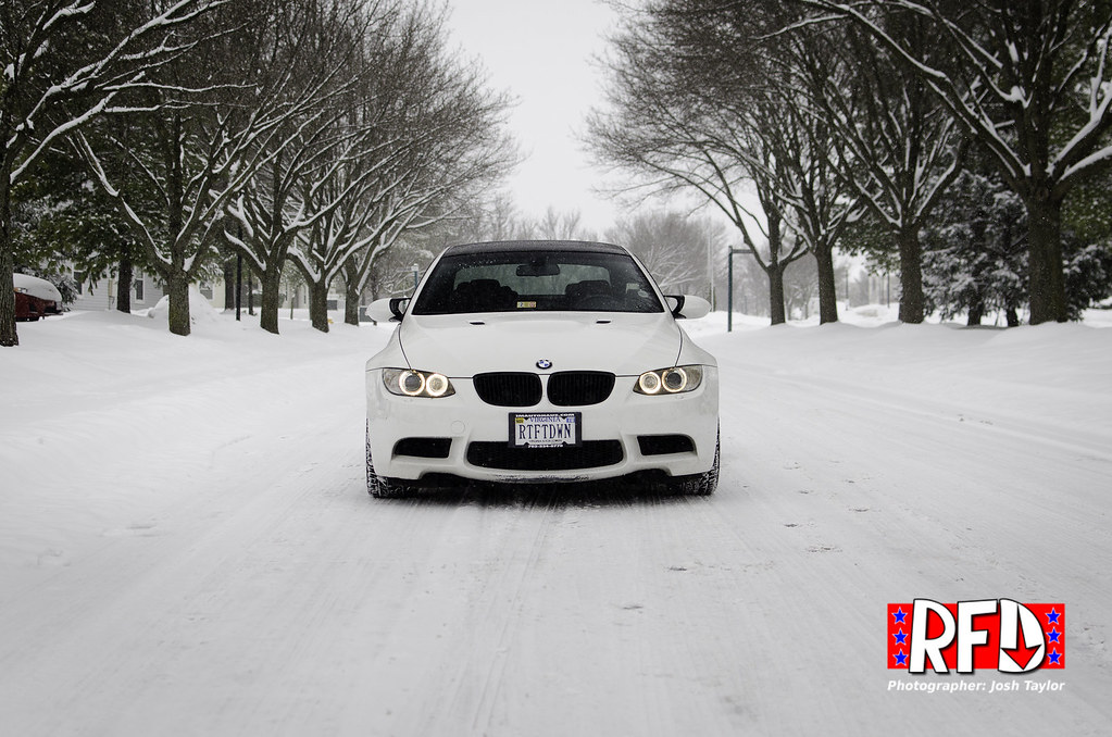 BMW M3 with Bridgestone RE970AS tires in the snow