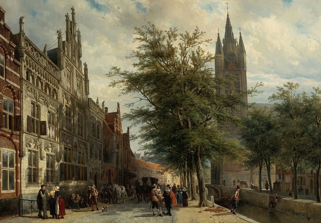 Cornelis Springer, The Gemeenlandshuis and the Old Church, Delft by Cornelis Springer, 1877