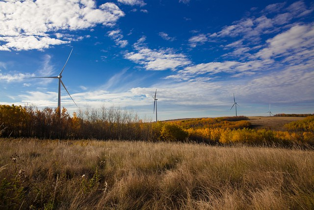 Bull Creek a wind farm providing wind energy to Alberta Schools