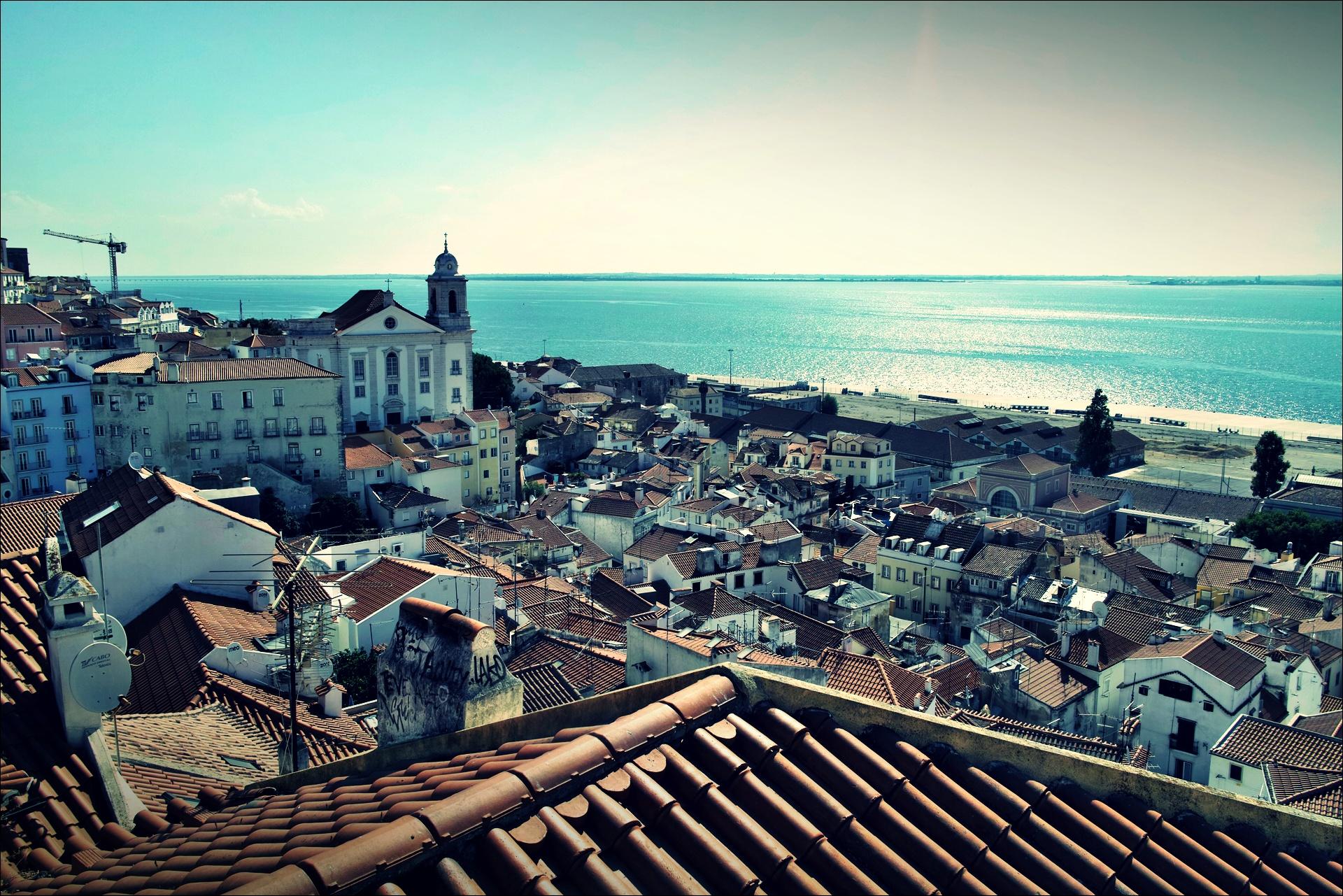빨간 지붕과 바다-'리스본 Lisbon'