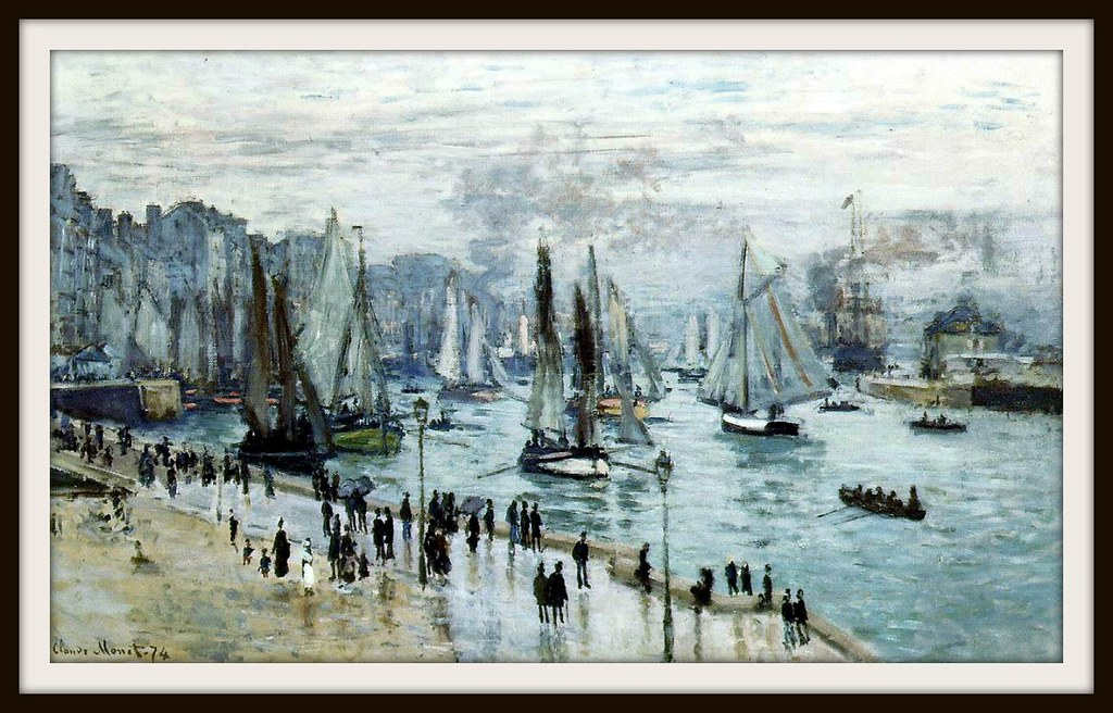 Fishing Boats Leaving the Harbor, Le Havre by Claude Monet, 1874.