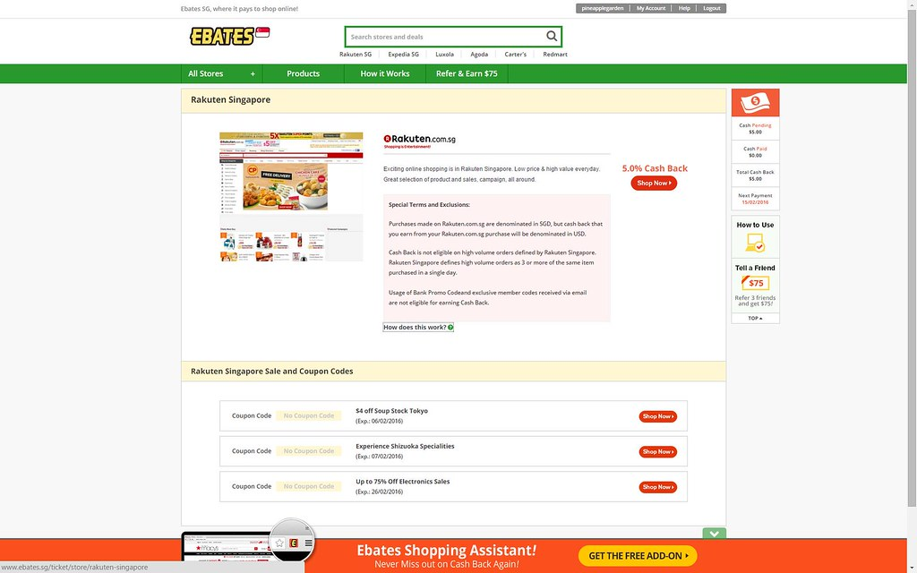 Access Rakuten Singapore via Ebates.sg and get an additional 5% rebate off your purchases