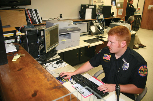 Patrolman Josh Kennedy at his desk
