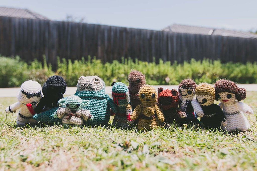 crocheted star wars figures, gifted as wedding bonbonierre