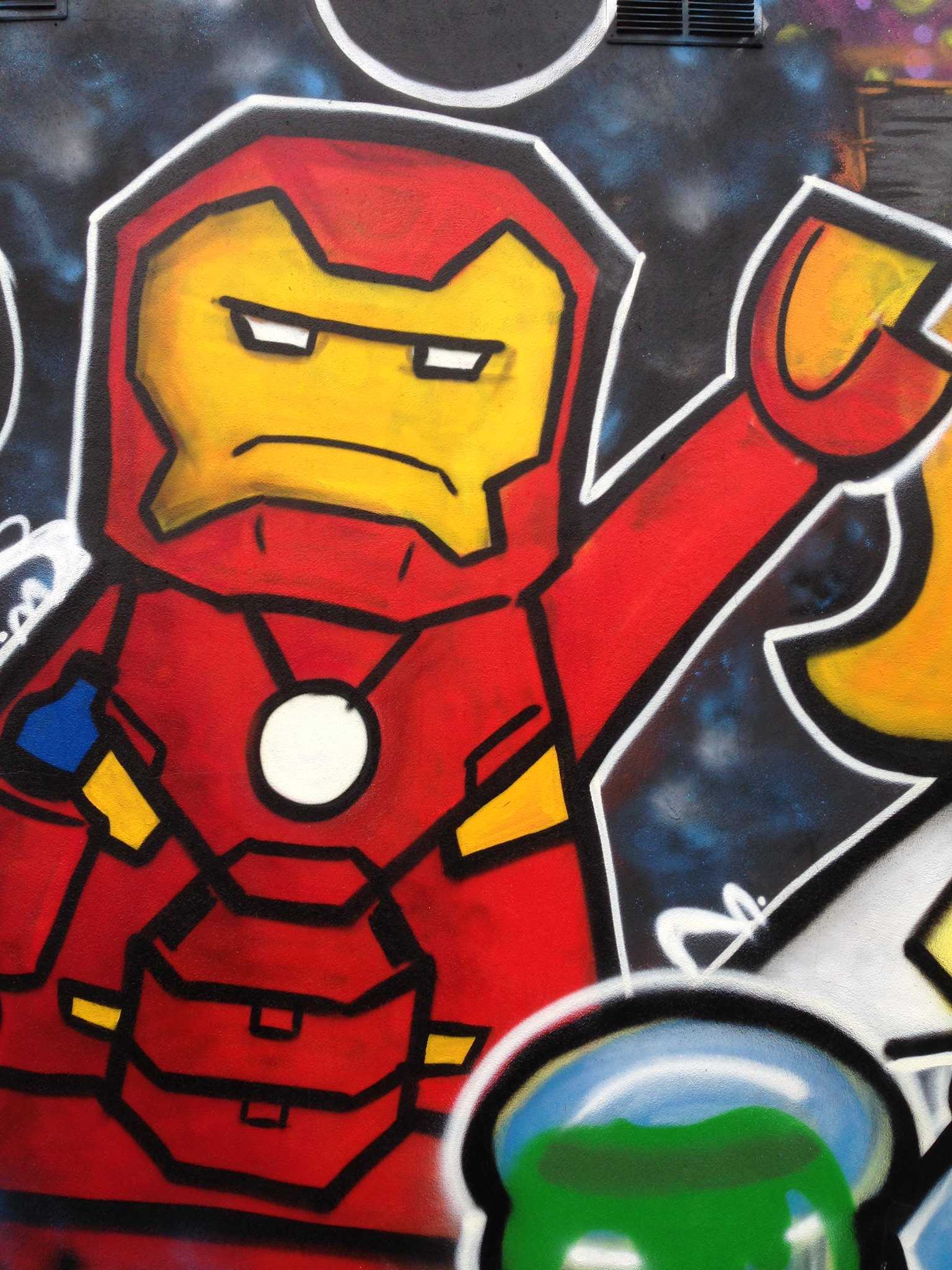 Marvel Lego Iron Man street art, Blackpool, by Dominic Carlyle