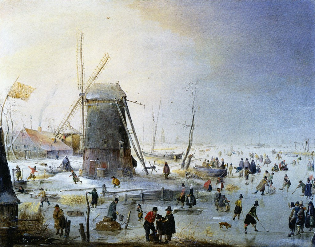 Winter Landscape with a Windmill by Hendrick Avercamp, c.1610-1620